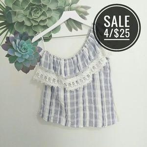 Angie Blue Striped One Shoulder Ruffle Top